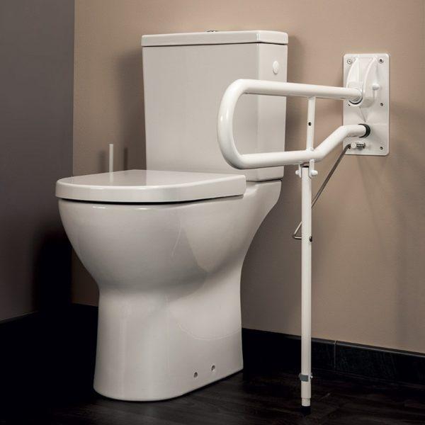 Barre d 39 appui pmr pour wc avec pied rabattable idhra vichy - Charniere de pied rabattable ...