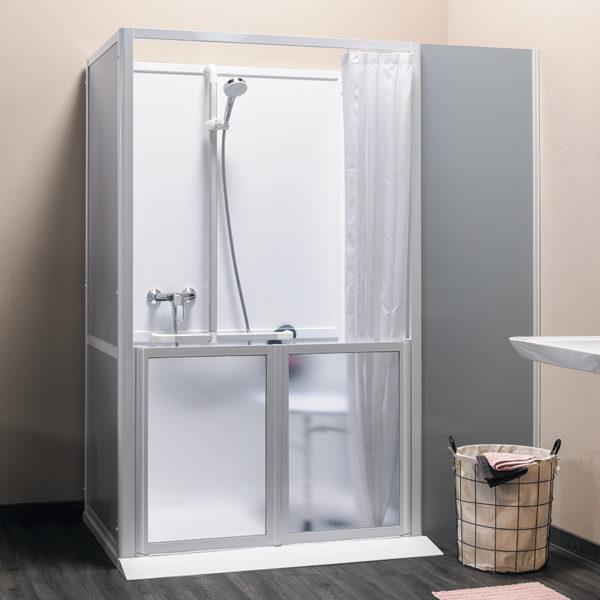 Cabine de douche porte mi-hauteur